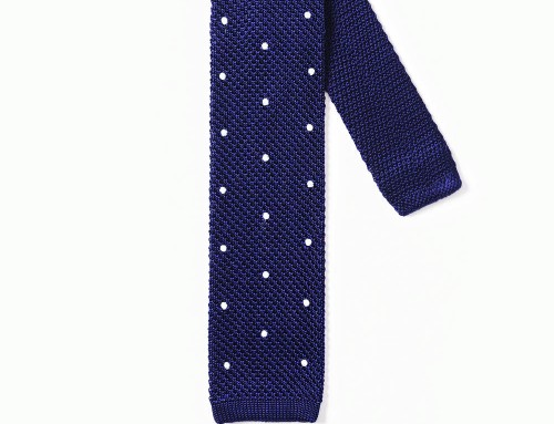 Knitted Tie With Spots Royal Blue