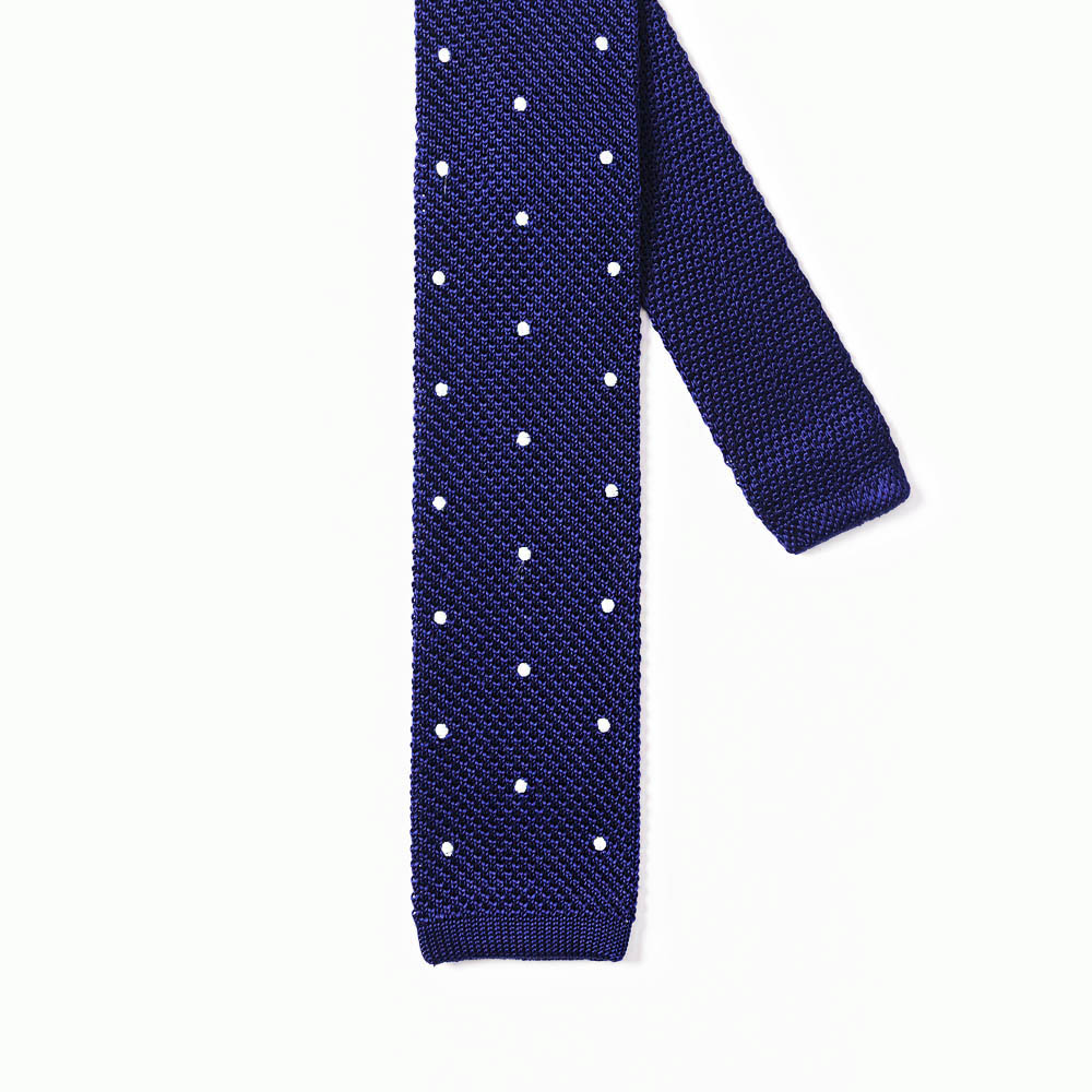 Knitted Tie With Spots Bronze